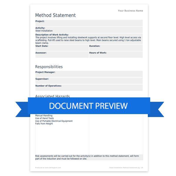 Steel installation method statement template   Darley PCM