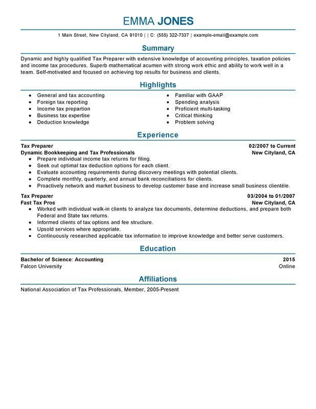 Unforgettable Tax Preparer Resume Examples to Stand Out ...