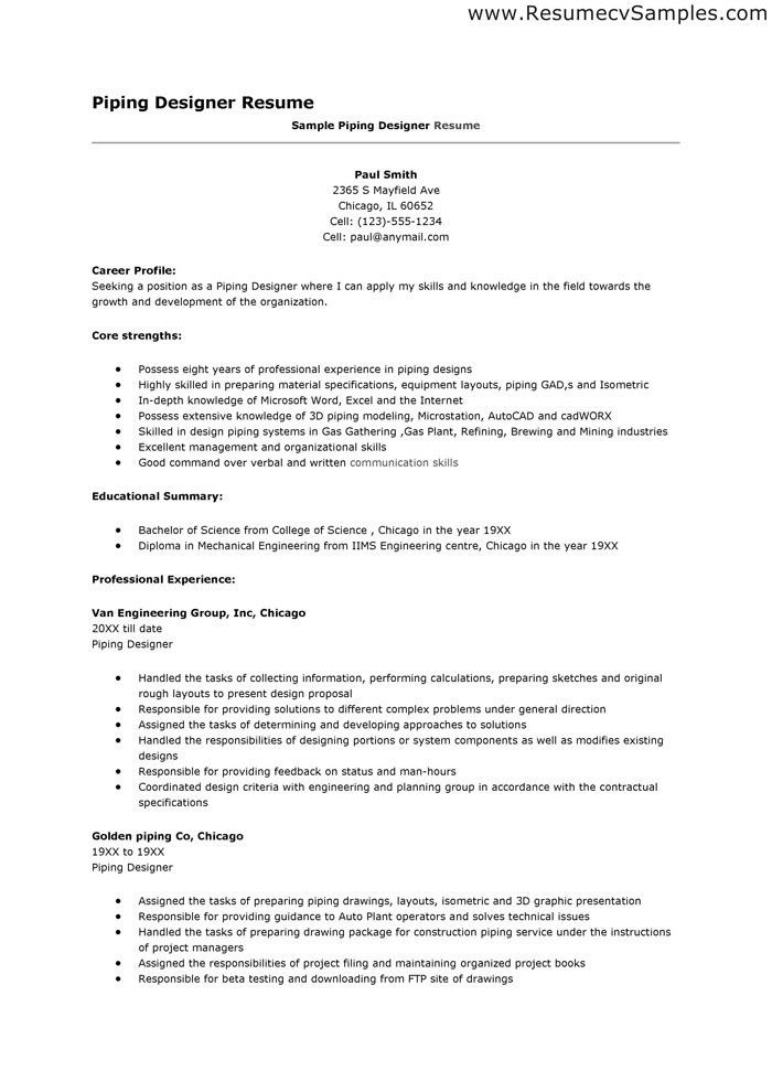 Piping Designer Resume - Best Letter Sample