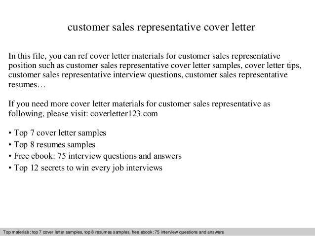Customer sales representative cover letter