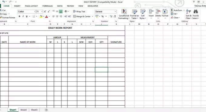 Daily Work Report Excel Sheet | Daily Work Report Template