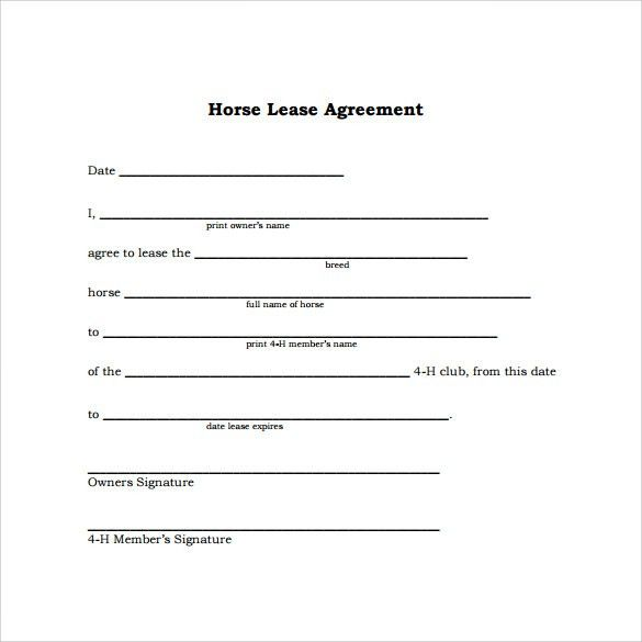 Sample Horse Lease Agreement - 9+ Free Documents in PDF, Word