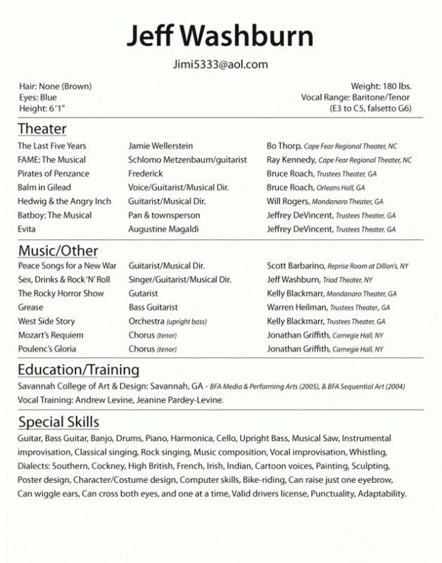 resume templates for actors 10 acting resume templates free