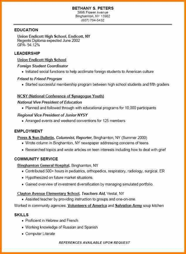 3+ examples of resumes for high school students | resume reference