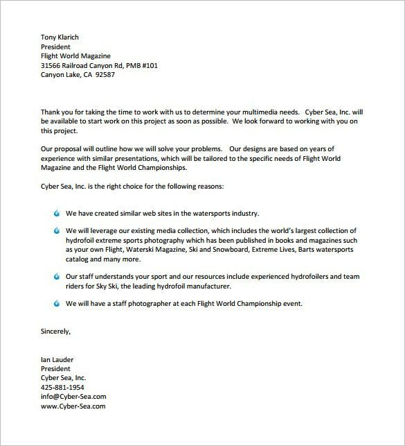 6+ Sample Business Proposal Letters – Proposal Template