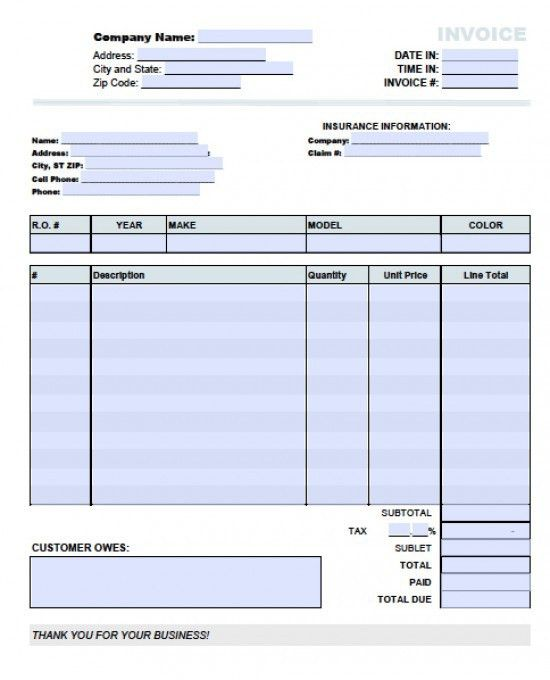 Free Auto (Body) Repair Invoice Template | Excel | PDF | Word (.doc)