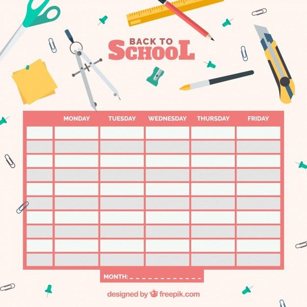School timetable template Vector | Free Download