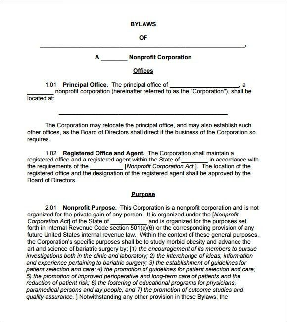 Bylaw Template] Sample Bylaws Template 6 Free Documents In Pdf ...