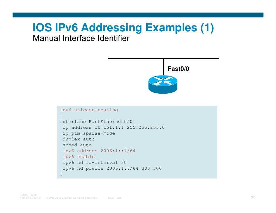 Cisco IPv6 Tutorial