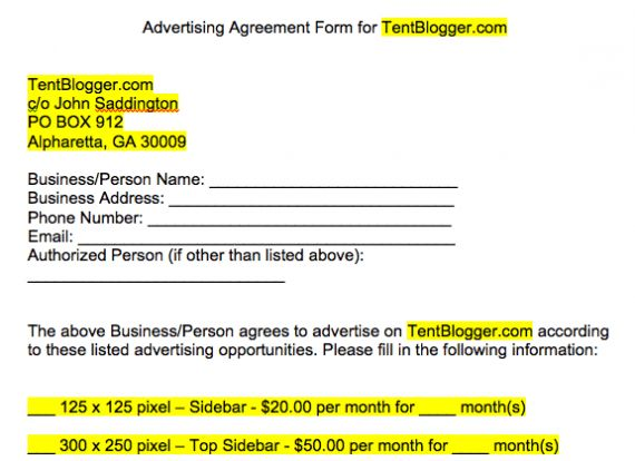 Crafting a Simple Blog Advertising Contract or Agreement - TentBlogger