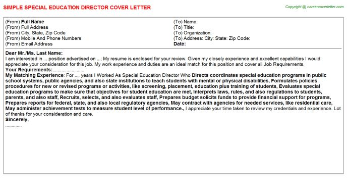 Special Education Director Cover Letter