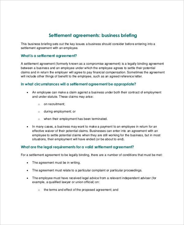 14+ Confidential Settlement Agreement Templates – Free Sample ...