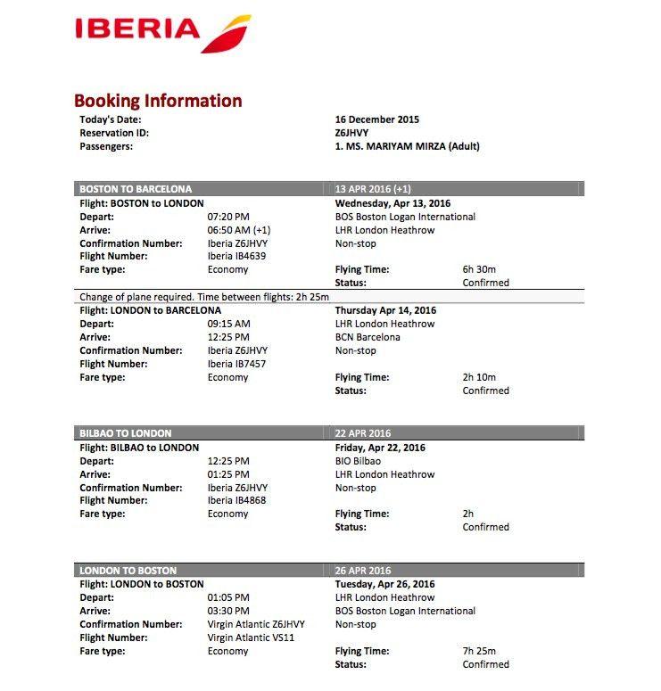 Sample Flight Reservation or Flight Itinerary for Visa Application ...