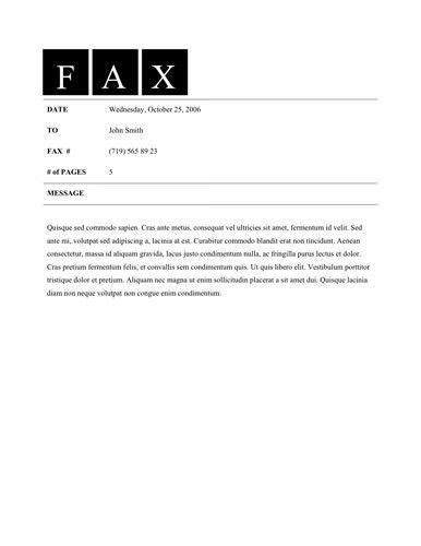 Sample Fax Cover Letter Template within Free Fax Cover Letter - My ...