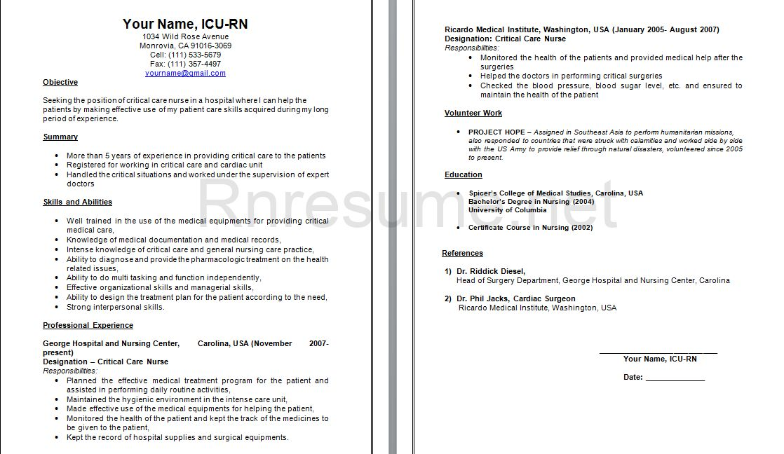 icu registered nurse resume er nurse resume example how to format ...