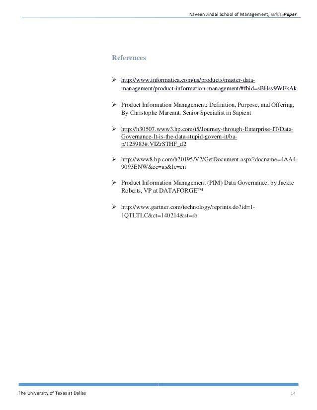 Whitepaper on Master Data Management