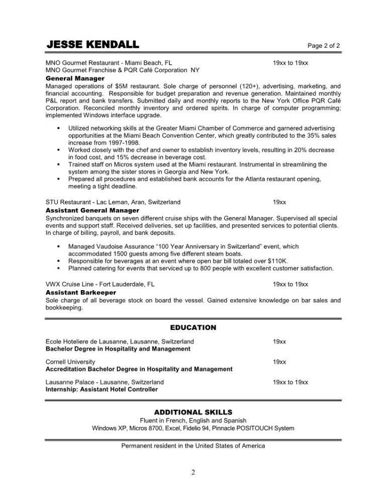 Restaurant Manager Resume Template. Restaurant Manager Resume ...