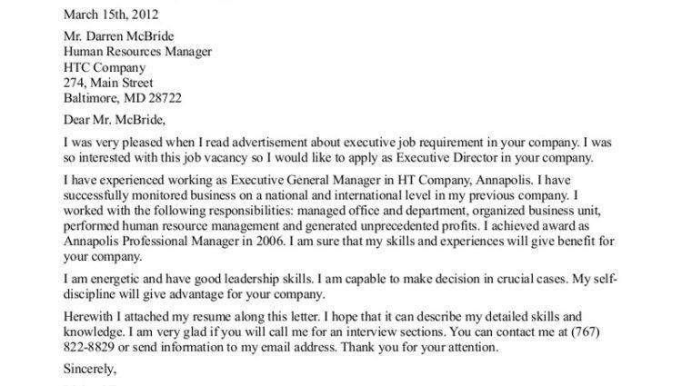 Executive Cover Letter Sample For Executive Director Position ...