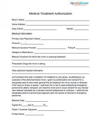 Medical Release Form for Minor