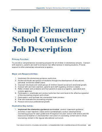 School Counselor Job Description. Sample Elementary School ...