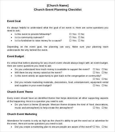 9+ Sample Event Checklist Template   Free Sample, Example, Format .