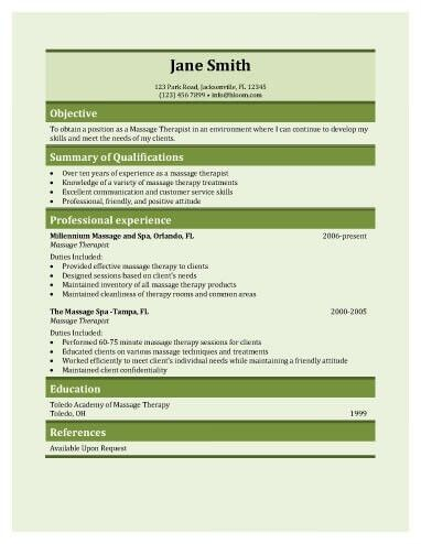 Massage Therapist Resume Sample | jennywashere.com