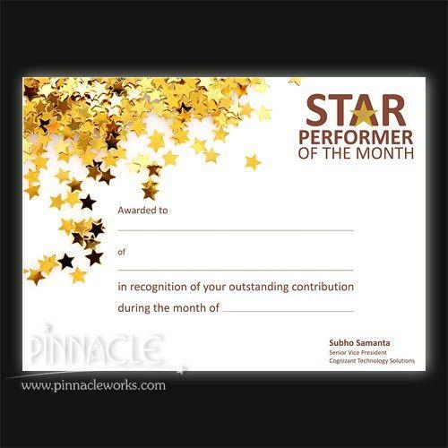 Star Performer Certificate Pinnacle