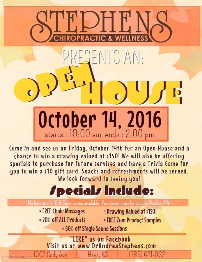 FALL OPEN HOUSE - Stephens Chiropractic & WellnessStephens ...
