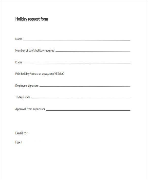 Holiday Leave Form Template [Nfgaccountability.com ]
