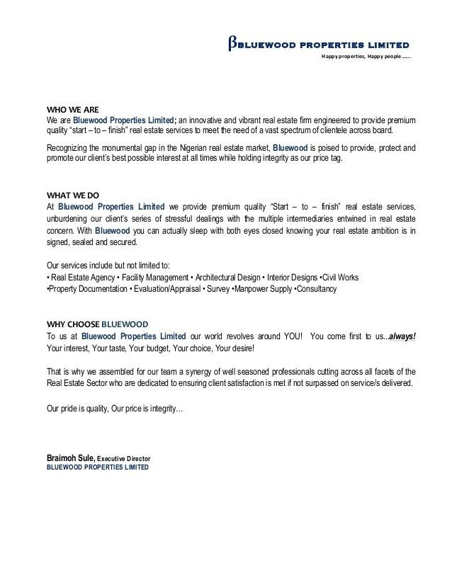 BLUEWOOD   BUSINESS INTRODUCTION LETTER