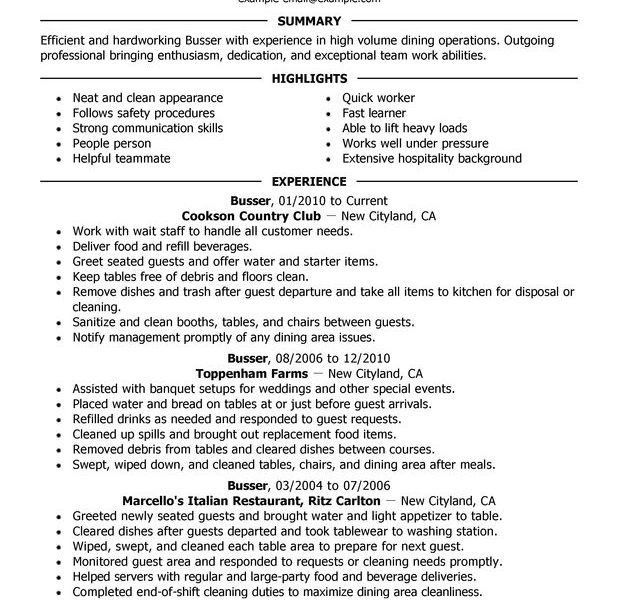 Busser Resume Unforgettable Busser Resume Examples To Stand Out - busser resume