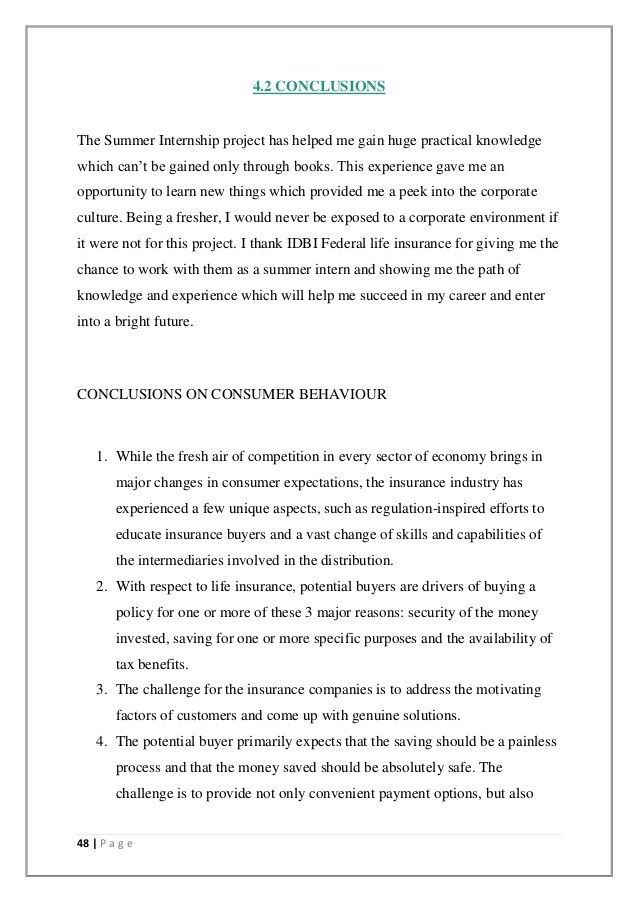 IDBI Federal life insurance summer internship report