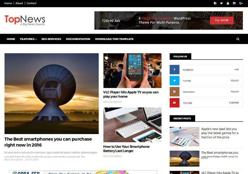 Top News Responsive Blogger Template • Blogspot Templates 2017