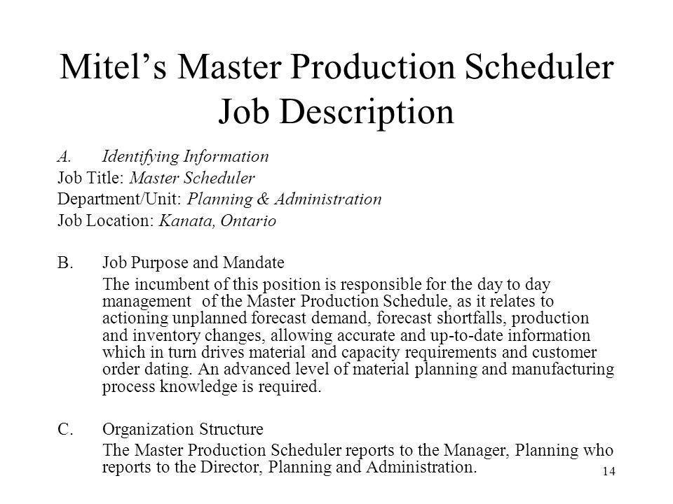 Session 8 Master Production Scheduling (MPS) – Managing the MPS ...