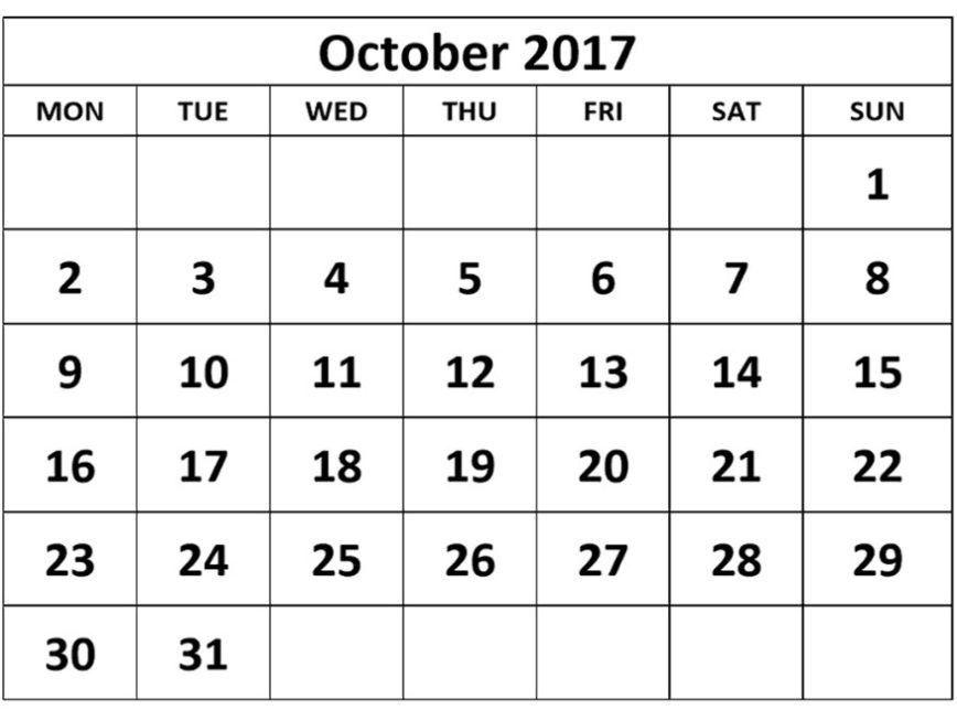 October 2017 Calendar Template | Calendar Template Letter Format ...