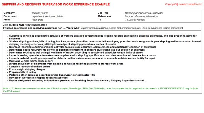 Shipping And Receiving Clerk CV Work Experience Samples