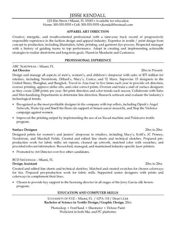 Simple Apparel Art Director or Artist Resume Highlighting ...