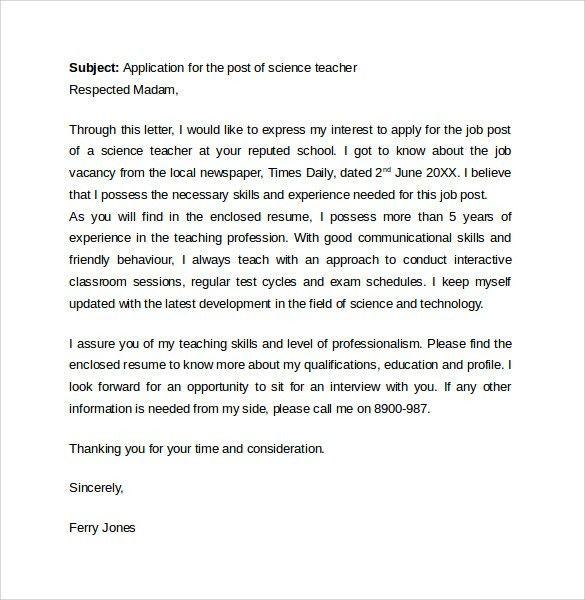 Science Teacher Cover Letter Resume Cover Letter Examples - Science tutor cover letter
