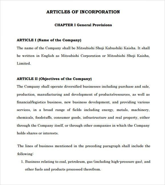Sample Articles of Incorporation - 8+ Documents in PDF