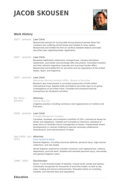 Law Clerk Resume samples - VisualCV resume samples database