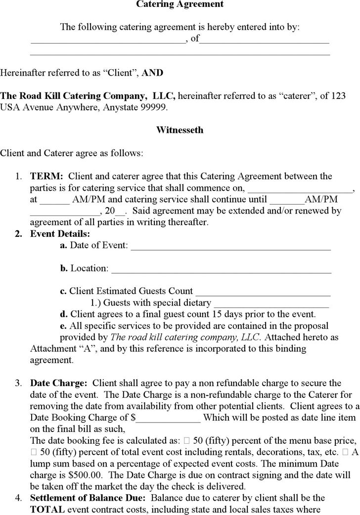 Catering Contract Template Word | Template Design