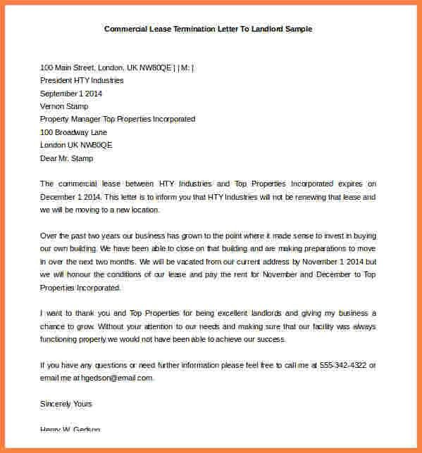 9+ lease termination letter to landlord | Sales intro letter