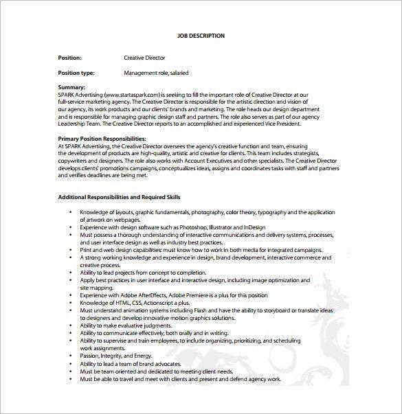 Creative Director Job Description Template - 8+ Free Word, PDF ...