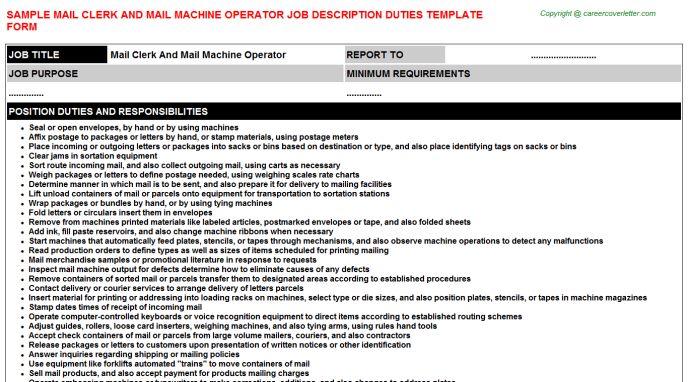 job description job categories machine operator. collection of ...