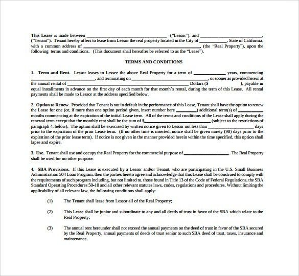 Sample Commercial Lease Agreement Template - 5+ Documents In PDF,Word