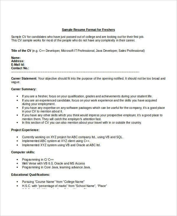 IT Fresher Resume - 6+ Free Word, PDF Documents Download! | Free ...