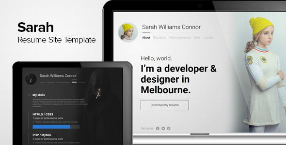 Sarah - Resume Site Template by brkor | ThemeForest