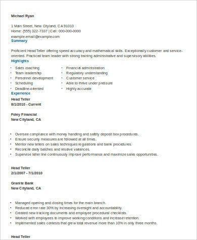 Sample Teller Resume - 7+ Examples in Word, PDF