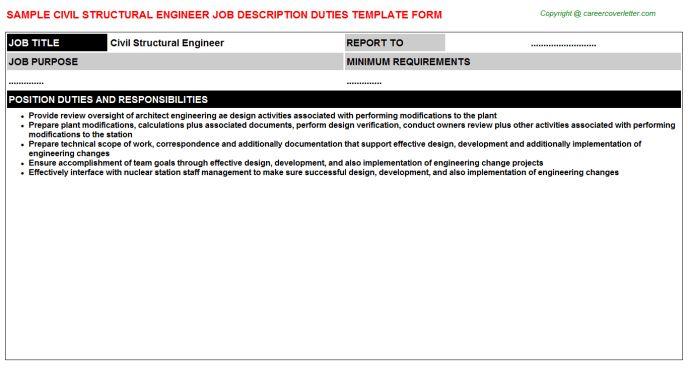 Civil Structural Engineer Job Description