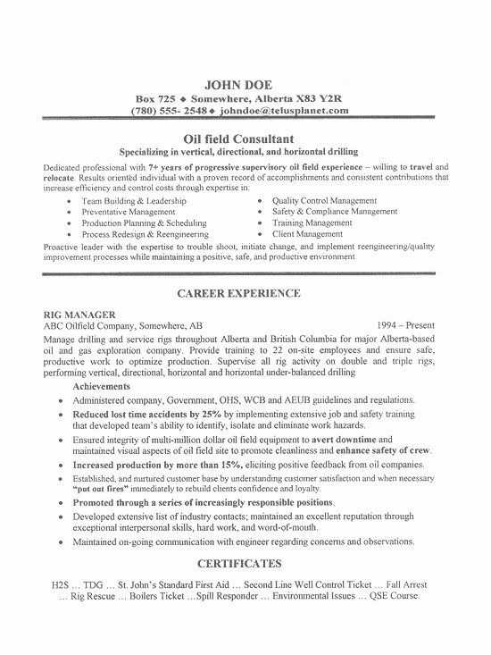 Field Job Resume Sample